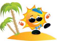 Sun-Karikatur auf dem Strand Stockfoto