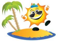 Sun-Karikatur auf dem Strand Stockbild