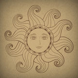 Sun with kind face. Stock Images