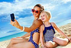 Happy mother and daughter with digital camera taking selfie Royalty Free Stock Image
