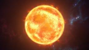 Sun la planète brûlante dans la scène cosmique rendu 3d Image libre de droits