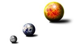 The Sun la tierra la luna Stock de ilustración