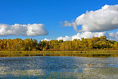 Sun Lake autumn scenery Royalty Free Stock Photography