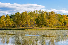 The Sun Lake autumn scenery stock photo