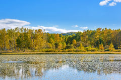 The Sun Lake autumn scenery stock photos