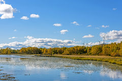 The Sun Lake autumn scenery stock image