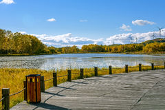 The Sun Lake autumn scenery royalty free stock image