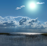Sun at the lake in Europe Stock Images