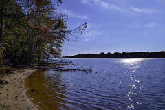 Sun on lake james mid summer time royalty free stock photos