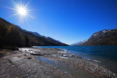 Sun at Lake Silvaplana near St. Moritz Stock Photo
