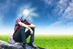 The sun in lamp man on landscapes background Stock Images