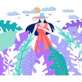 Sun, las hojas tropicales y flor de la tenencia de la muchacha libre illustration