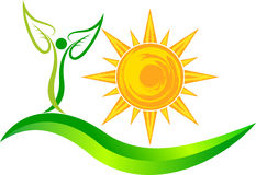 Sun leaf logo Stock Photos