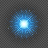 Sun with lens flare lights template and vector background. Special Effect Glowing Rays. Royalty Free Stock Image
