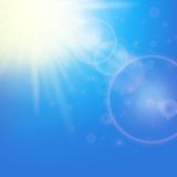 Sun with lens flare template Royalty Free Stock Photo