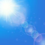 Sun with lens flare template Royalty Free Stock Photography