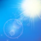 Sun with lens flare template Royalty Free Stock Photos