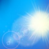 Sun with lens flare template Royalty Free Stock Images
