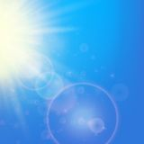 Sun with lens flare template Stock Photography