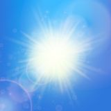 Sun with lens flare template Royalty Free Stock Image
