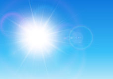 Sun with lens flare Royalty Free Stock Image