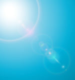 Sun with lenses flare. Sun on blue sky with lenses flare - vector illustration Stock Photo