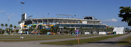 Sun Life Stadium - Miami Florida. Sun Life Stadium, also known as Dolphin Stadium, is home to both the Miami Dolphins (NFL) and Miami Hurricanes (NCAA) football royalty free stock photo