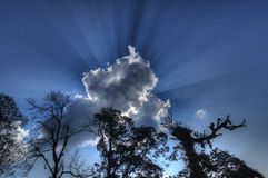 Sun light beams coming from behind cloud Stock Images