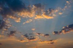 Sun light, cloud and sky. Sun light shine through the cloud and the sky Stock Photos