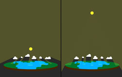 Sun light on flat earth. Sun rays through clouds. Crepuscular rays illustration. Sun light on flat earth. Sun rays through clouds. Crepuscular rays illustration Royalty Free Stock Images