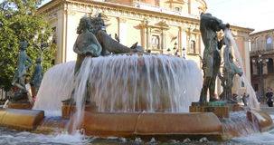 Sun light fountain plaza valencia 4k spain stock video footage