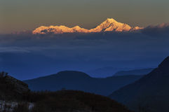 Sun light on Mount Kanchenjugha. In the morning, Sikkim Royalty Free Stock Photos