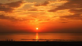 Sea coast orange sky on sunset Royalty Free Stock Images
