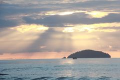 Sun light relaxing holiday sunset freedom. Sunshine in the sea and white clouds on the sky in your summer stock images