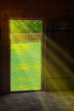 Sun light shining through wooden door Royalty Free Stock Images