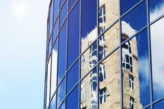Sun light sky cloud reflection in glass office building Stock Image