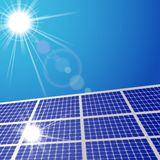 Sun light and solar cell panel Stock Photography