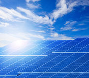 Sun light and solar cell panels  against beautiful clear blue sk Stock Photography