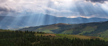 Sunset in Alps. Sunlight in the Alps Royalty Free Stock Photo