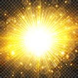 Sun light and sunburst with glittering on transparency background. Lighting effect radiation. Vector illustration royalty free illustration