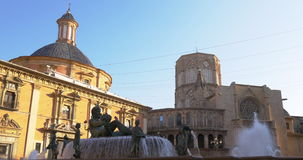 Sun light valencia old town cathedral fountain 4k spain stock footage