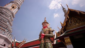 Sun light wat phra kaew temple roof tops panorama 4k time lapse bangkok thailand stock video footage