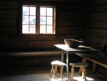 Sun Light on Wooden Table. Old Typical House Interior - Norway - Folken Museum Stock Images