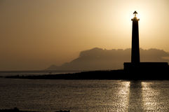 Sun in the lighthouse royalty free stock photo