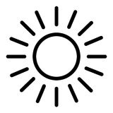 Sun line icon. Shining sun vector illustration isolated on white. Sun and rays outline style design, designed for web. And app. Eps 10 stock illustration