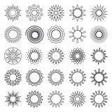 Sun line symbols Stock Photos