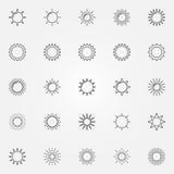 Sun-Linie Ikonen eingestellt Lizenzfreie Stockfotos