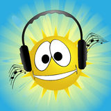 Sun listen music Stock Photography