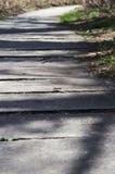 Sun lit wooden walk path winding far away Stock Photo
