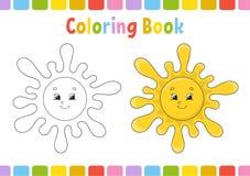 Sun Livre de coloriage pour des enfants Caractère gai Illustration de vecteur Style mignon de bande dessinée Tiré par la main Pag illustration stock